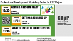 Professional Development Workshop Series for PSY Majors: Getting a Job Lined Up